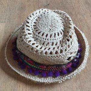 Colorful Pom Pom Straw Beach Hat